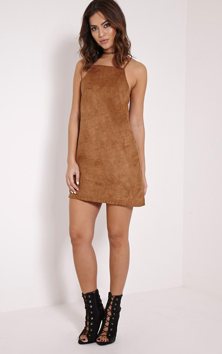 Cammy Tan Faux Suede Bodycon Mini Dress 3