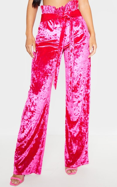 Hot Pink Velvet Paperbag Wide Leg Trouser