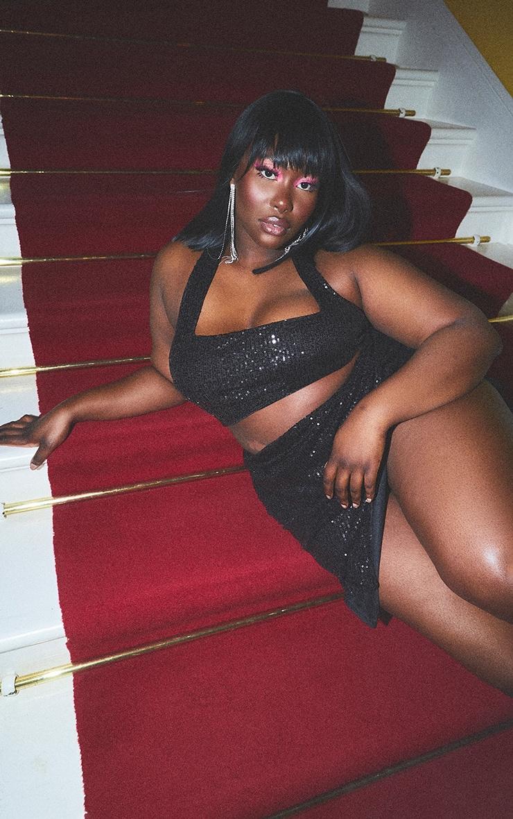Plus Black Sequin Halterneck Crop Top 1