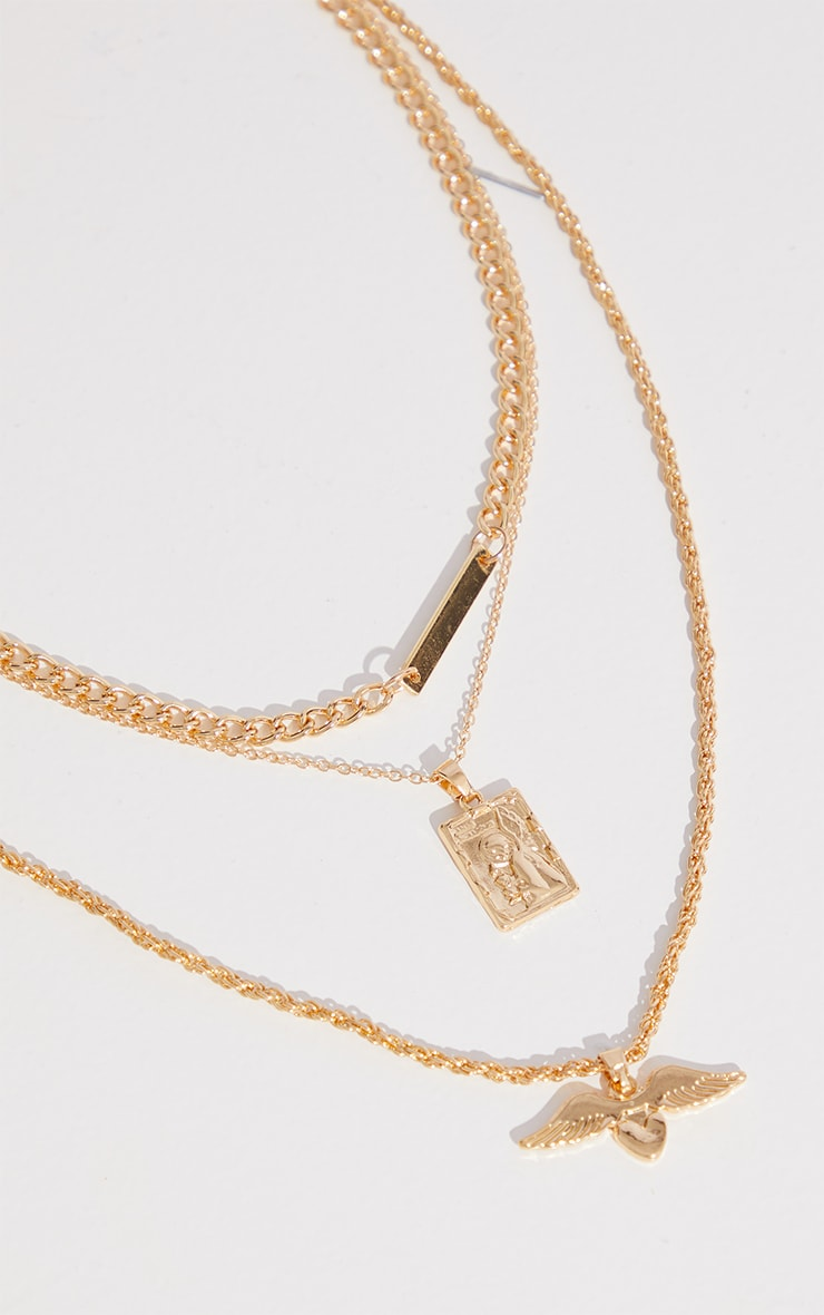 Gold Signet Chain And Winged Heart Charm Layering Necklace 4