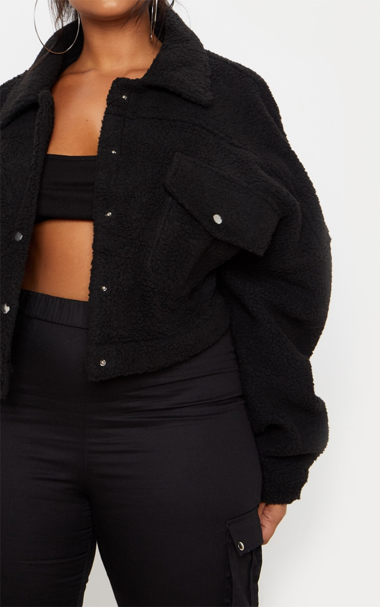 Plus Black Cropped Borg Trucker Jacket 5