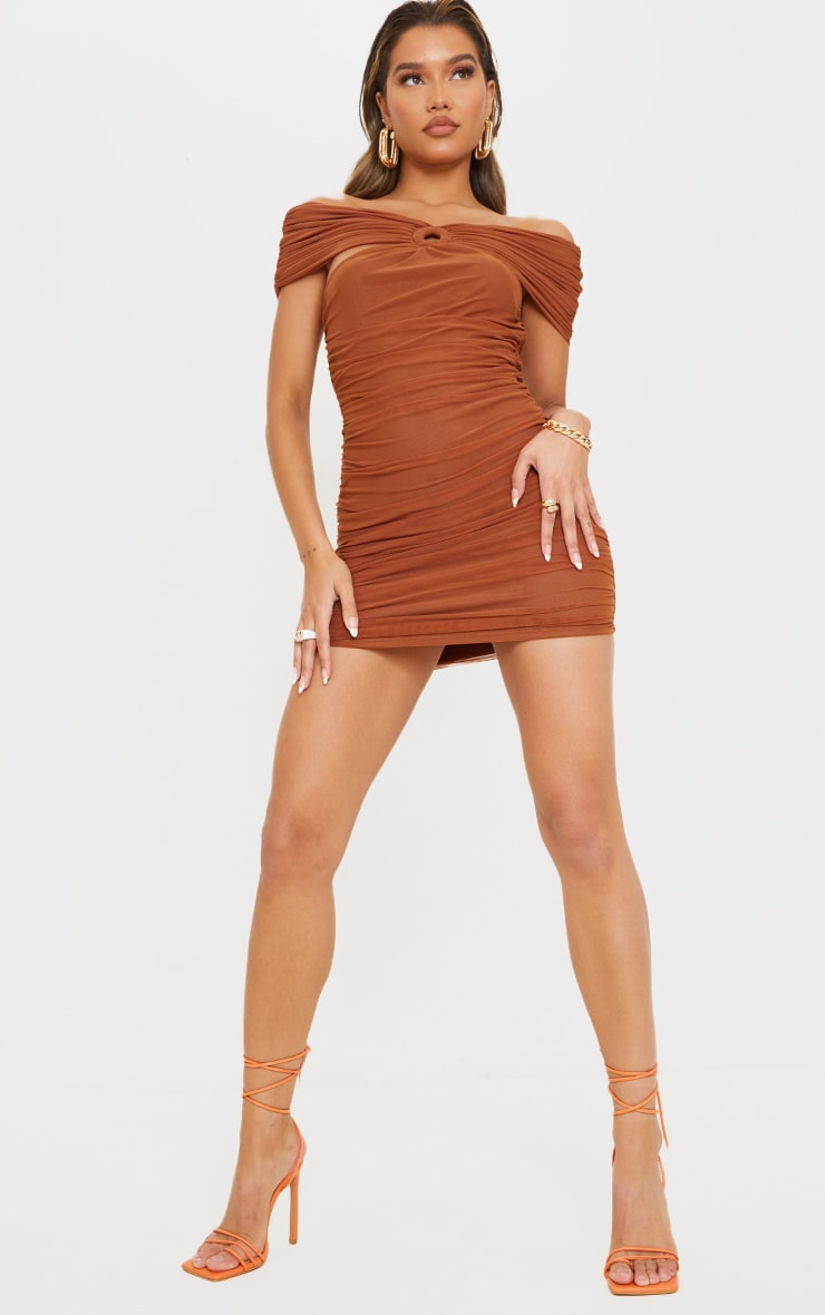 Brown Mesh Ruched O Ring Detail Bardot Bodycon Dress 3