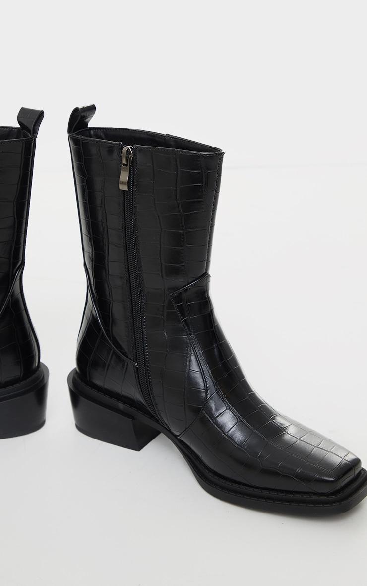 Black Matte Pu Croc Square Toe Heeled Western Boots 3