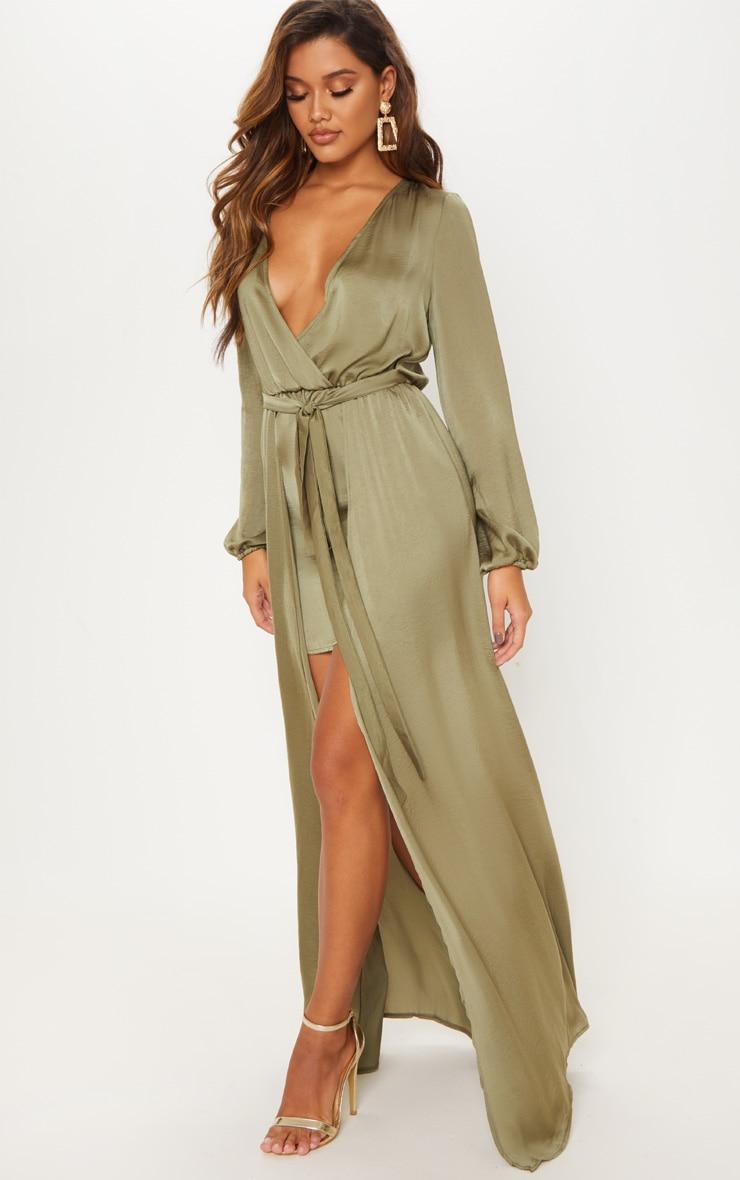Sage Green Satin Plunge 2 in 1 Maxi Dress 4