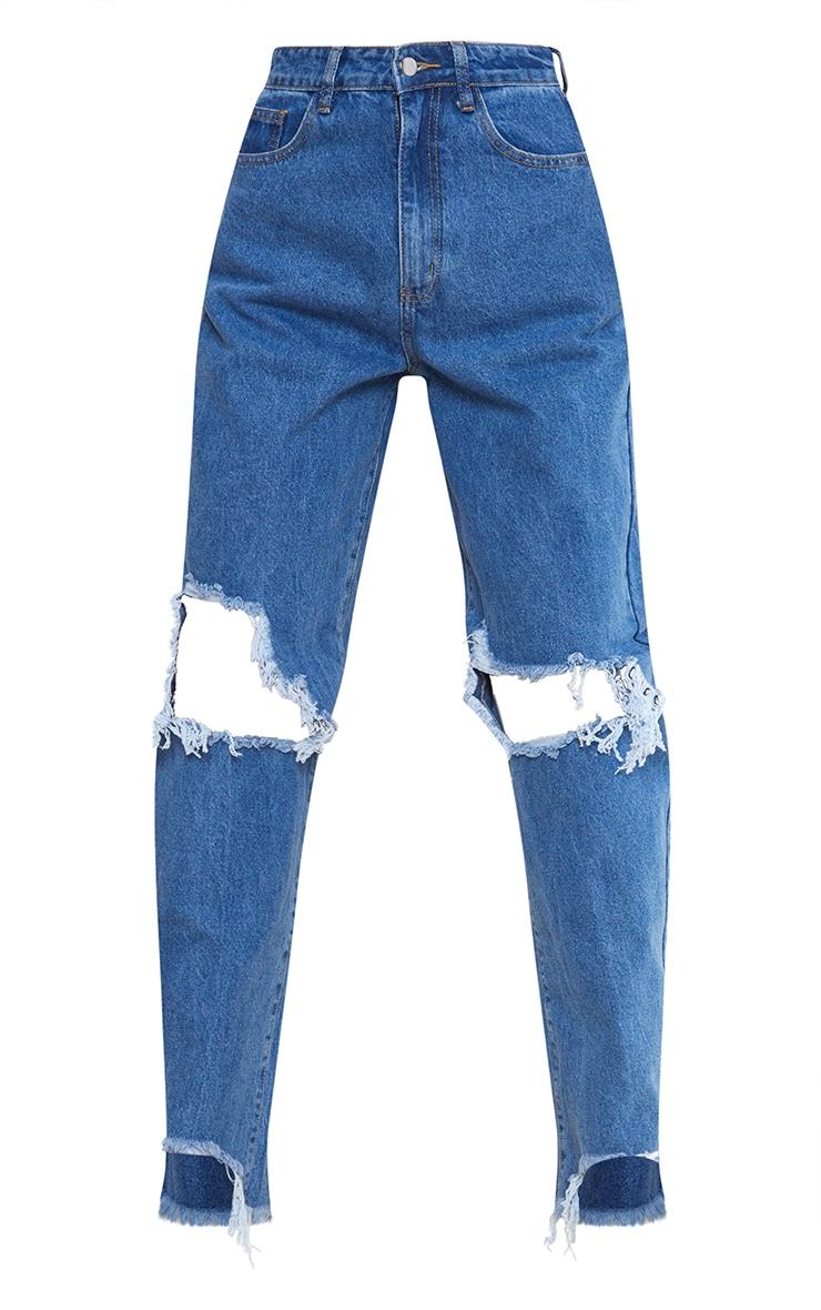 PRETTYLITTLETHING Tall Mid Blue Extreme Ripped Hem Boyfriend Jeans 5