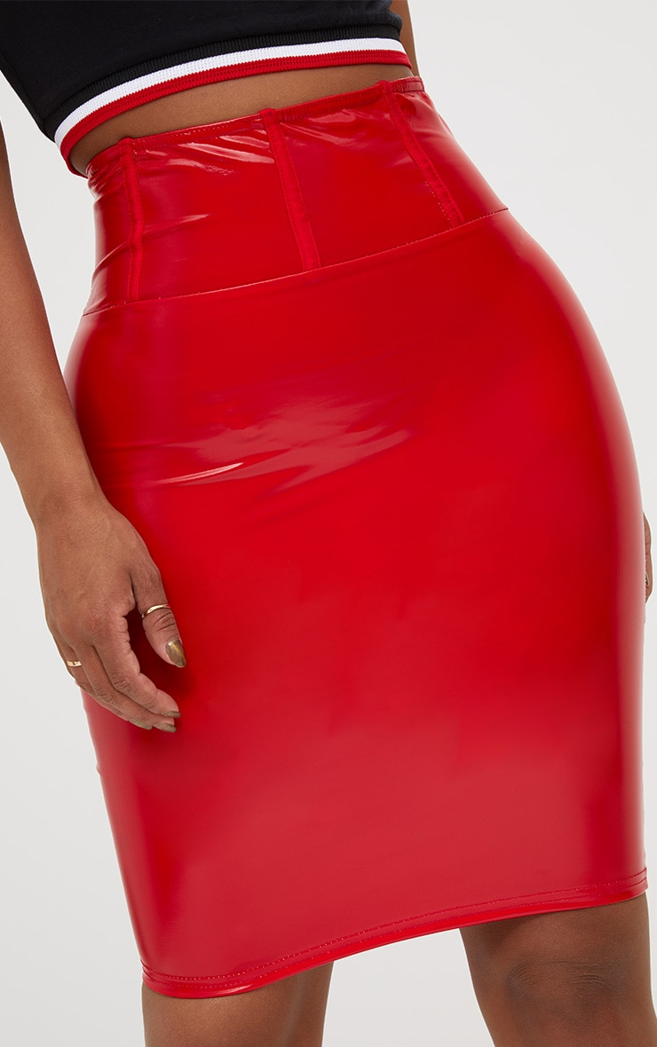 Shape Red High Waist Vinyl Mini Skirt 7