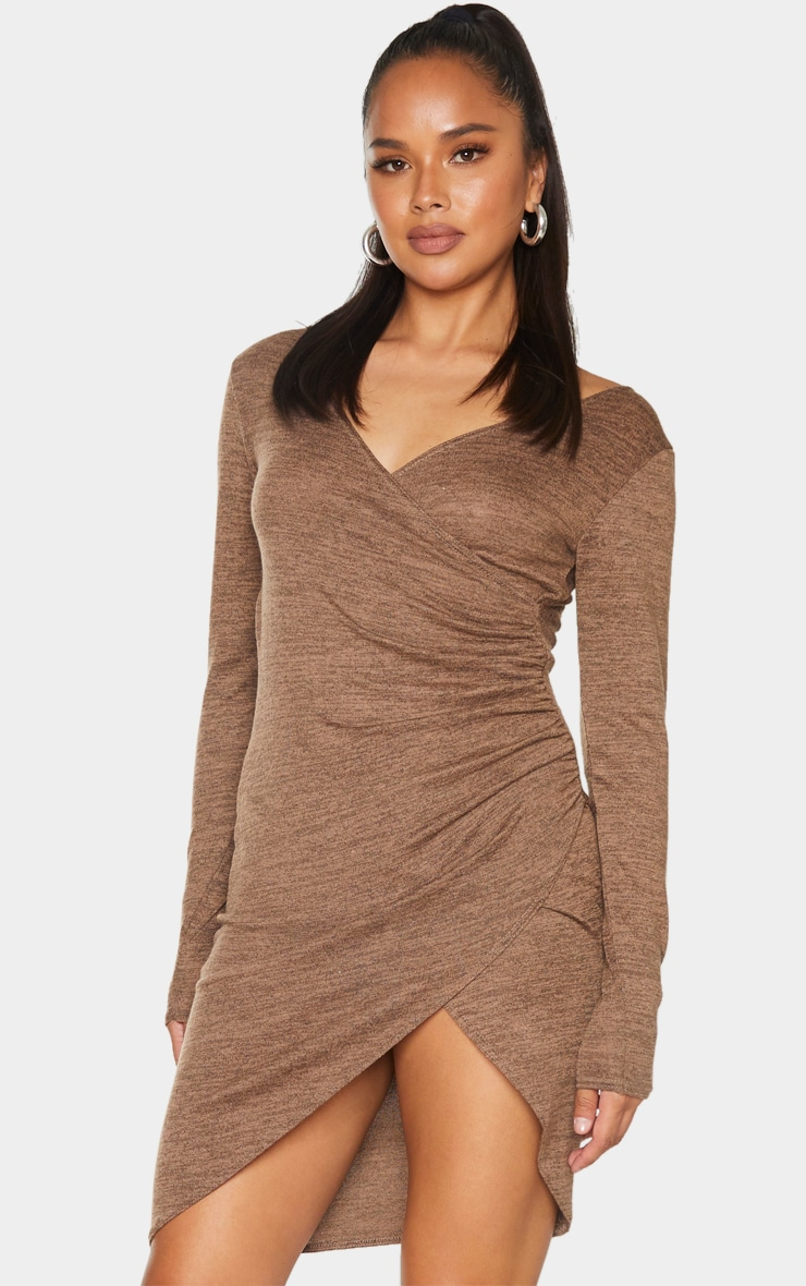 Chocolate Ruched Wrap Detail Bodycon Dress 1