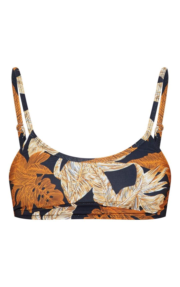 Black Palm Leaf Print Scoop Neck Bikini Top 3