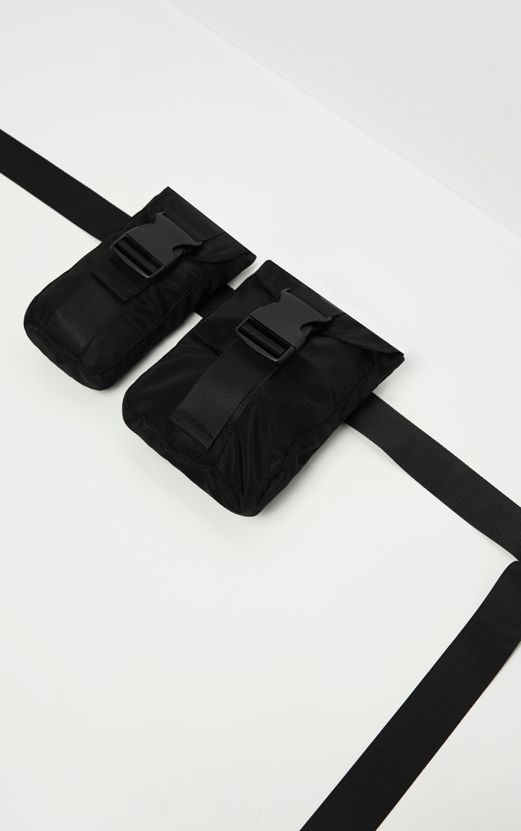 Black Double Pocket Pouch Bag 4