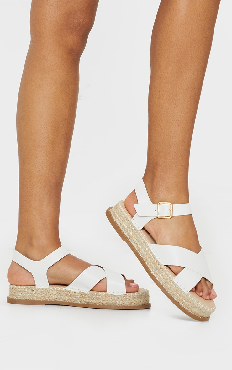 White Studded Flatform Espadrille Cross Strap Sandals 1