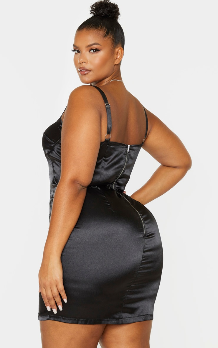 Plus Black Satin Corset Detail Bodycon Dress 2