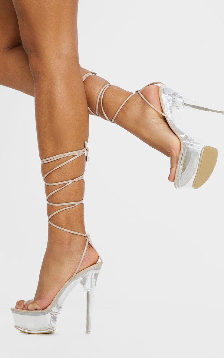 Nude Patent Lace Up Clear Platform
