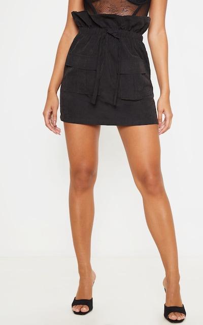 Black Faux Suede Paperbag Waist Mini Skirt