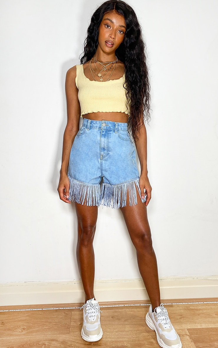 Light Blue Wash Tassel Hem Denim Shorts 4