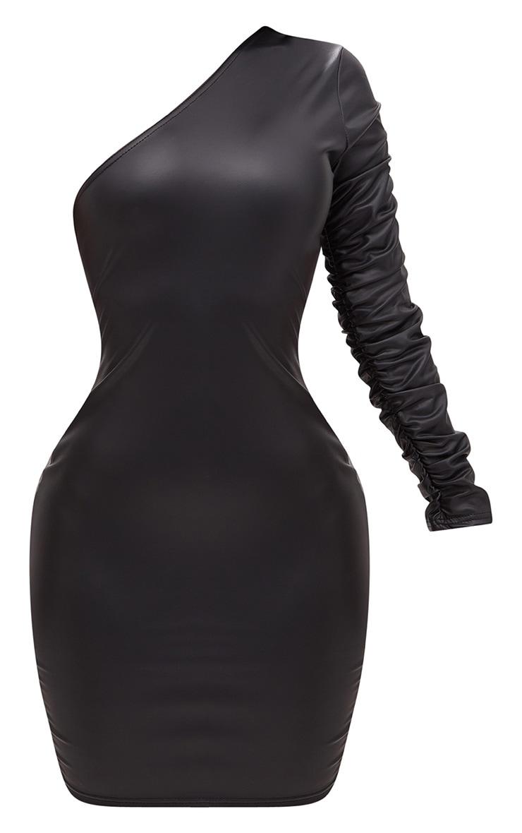 Shape Black PU One Shoulder Ruffle Bodycon Dress 3