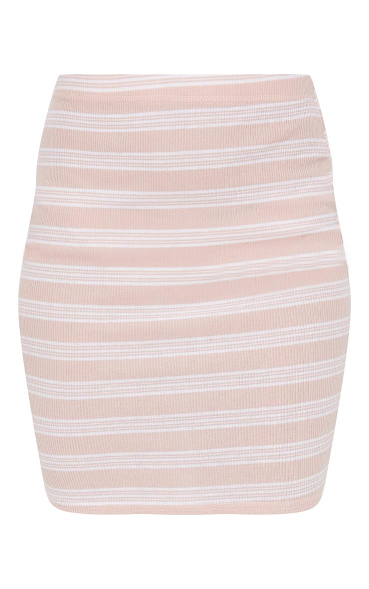 Pale Pink Ribbed Stripe Mini Skirt 3