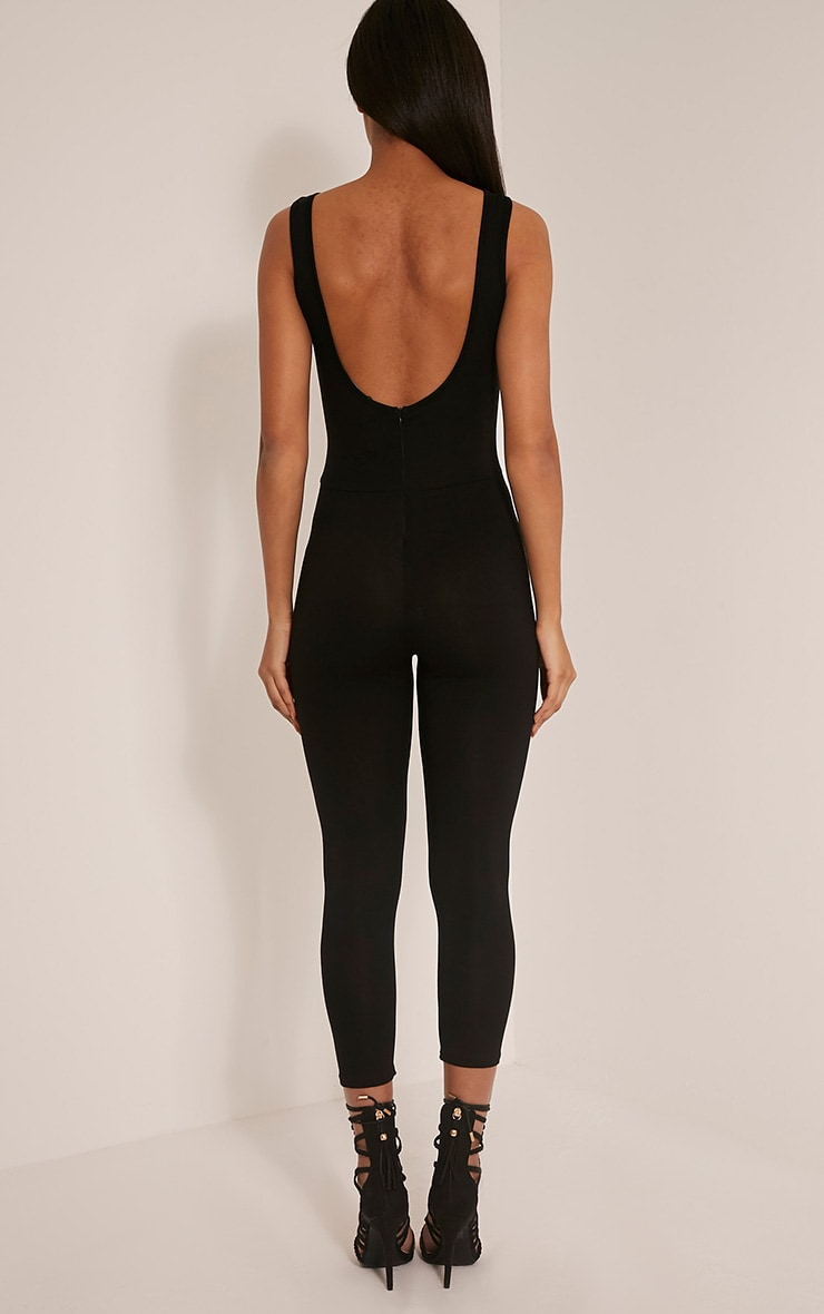 Katie Black Scoop Back Fitted Cropped Leg Jumpsuit 2