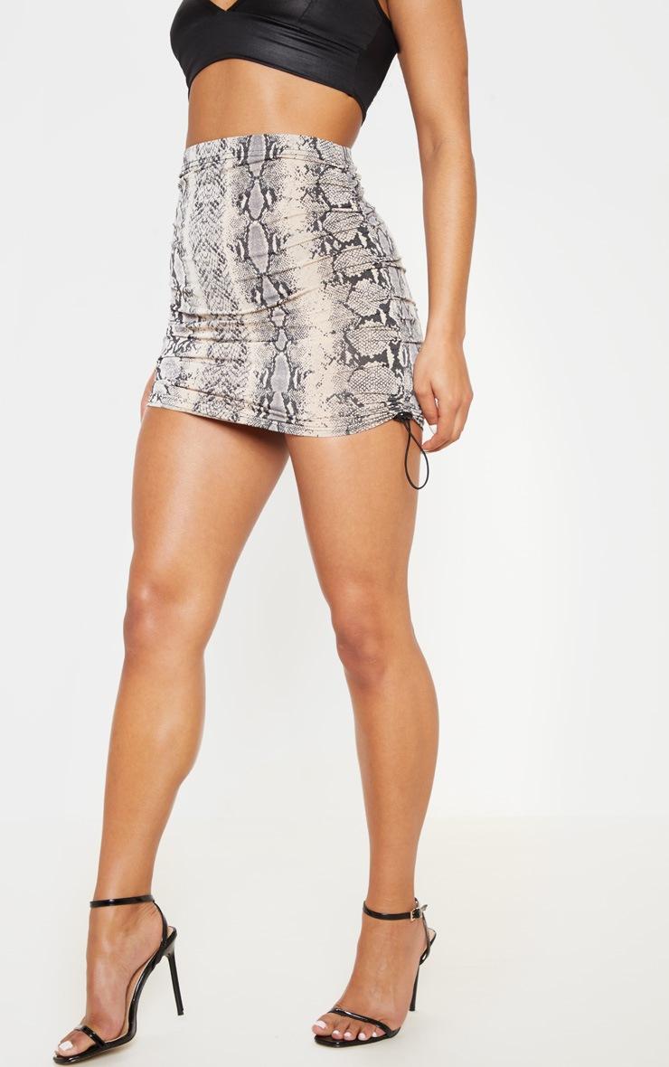 Stone Slinky Snake Print Ruched Side Toggle Mini Skirt 3