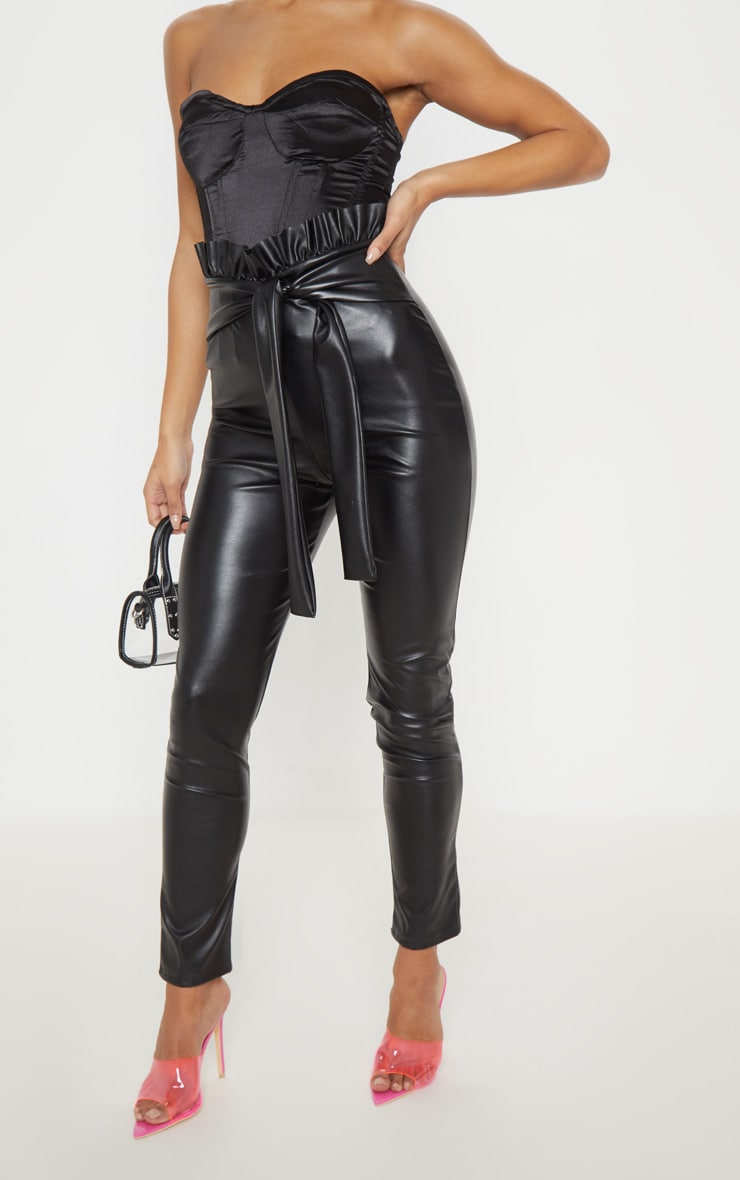 Black Faux Leather Paper bag Skinny Pants 2