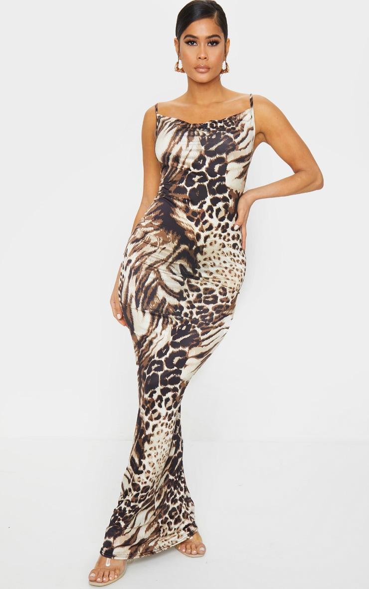 Nude Leopard Print Cowl Neck Strappy Maxi Dress 1