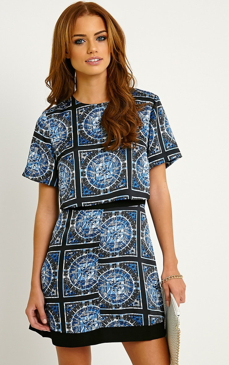 Leonarda Blue A-Line Printed Layered Shift Dress 4