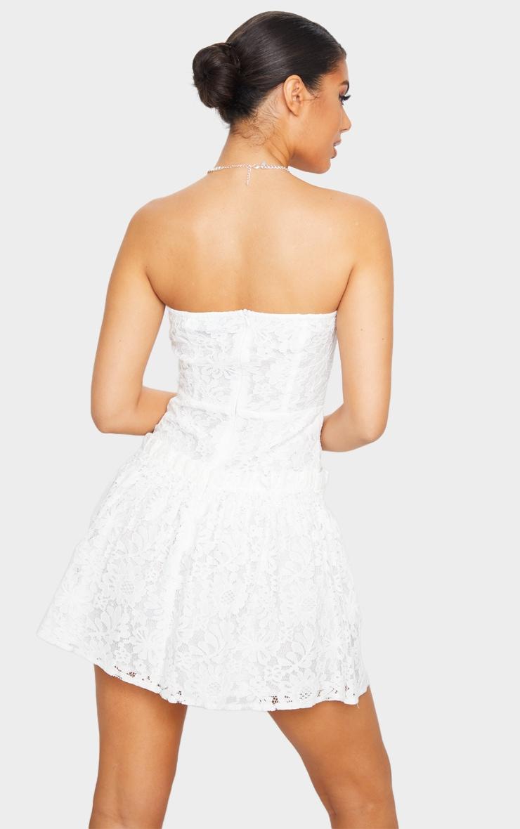 White Lace Bandeau Frill Hem Skater Dress 2