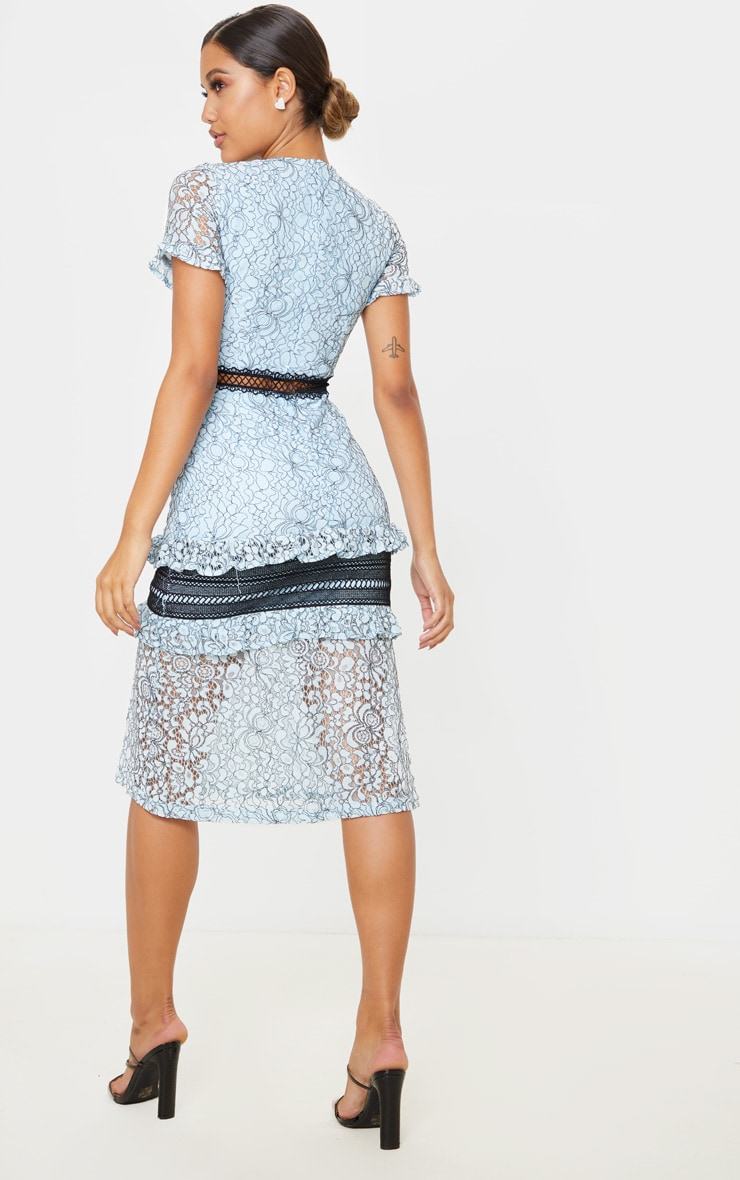 Dusty Blue Lace Ruffle Detail Midi Dress 2