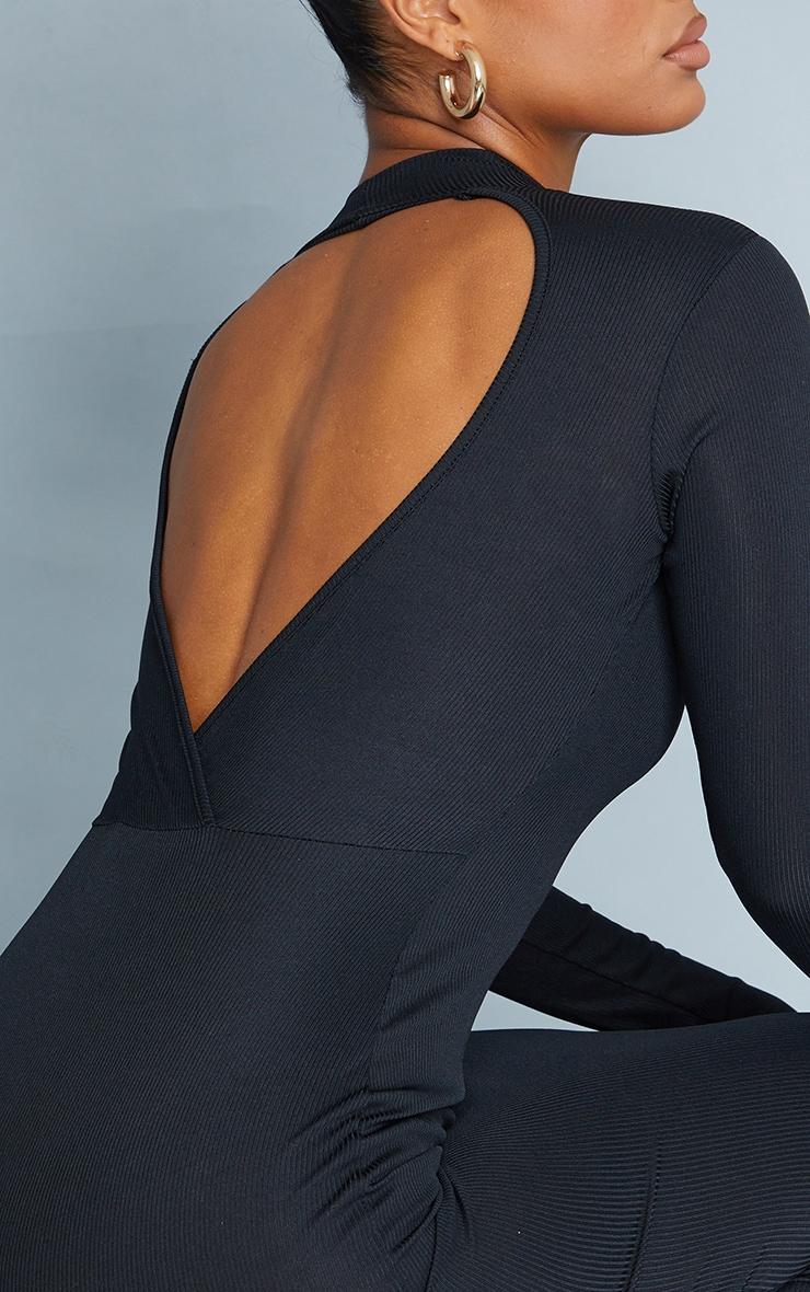 Black Rib Wrap Open Back High Neck Midaxi Dress 4
