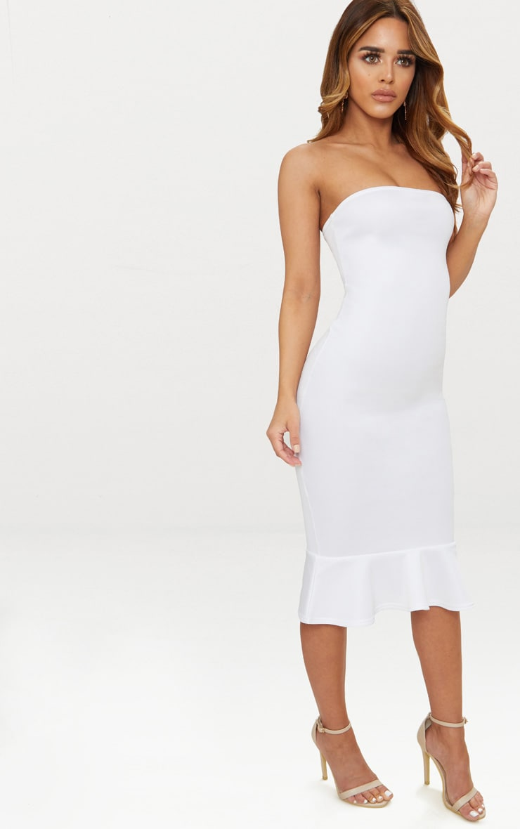 Petite White Bandeau Frill Hem Midaxi Dress 4