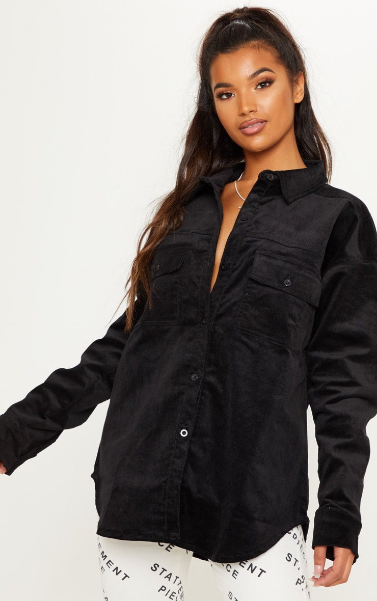 Black Oversized Cord Denim Shirt 1