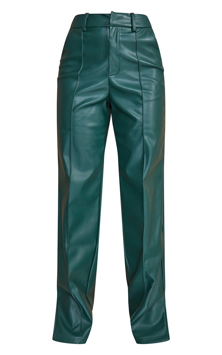 Bottle Green Faux Leather Pintuck Detail Straight Leg Trousers 5
