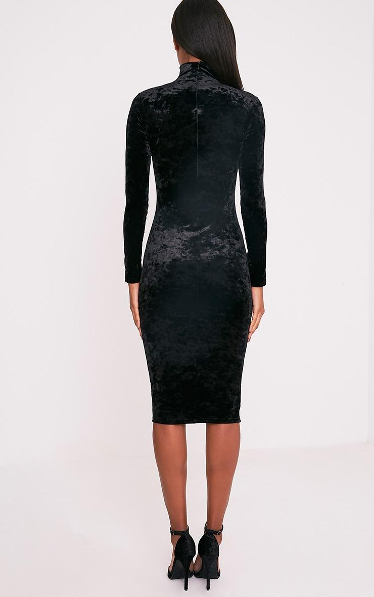Amlia Black Velvet High Neck Midi Dress 2