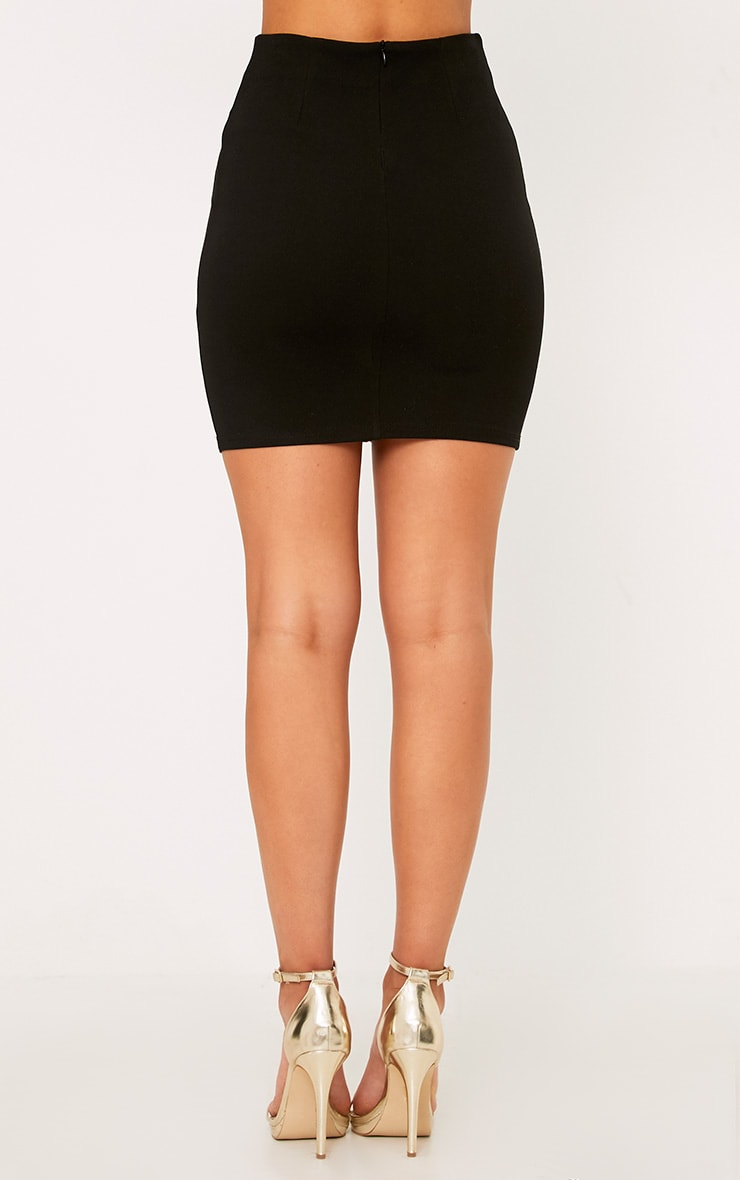 Remih Black Embroidered Floral Panel Mini Skirt  4