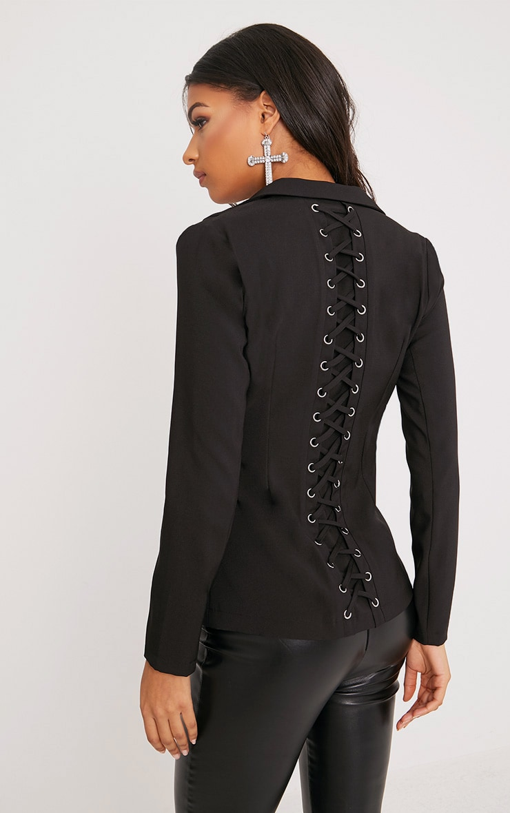 Abigale Black Laced Up Detail Blazer 1