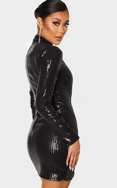 Black Sequin Long Sleeve High Neck Bodycon Dress