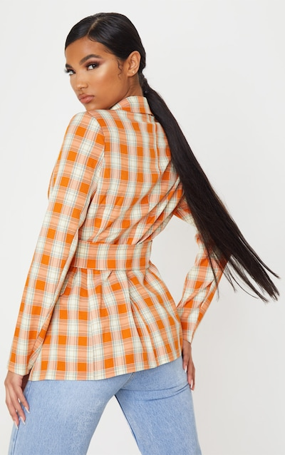 Orange Check Print Corset Woven Blazer