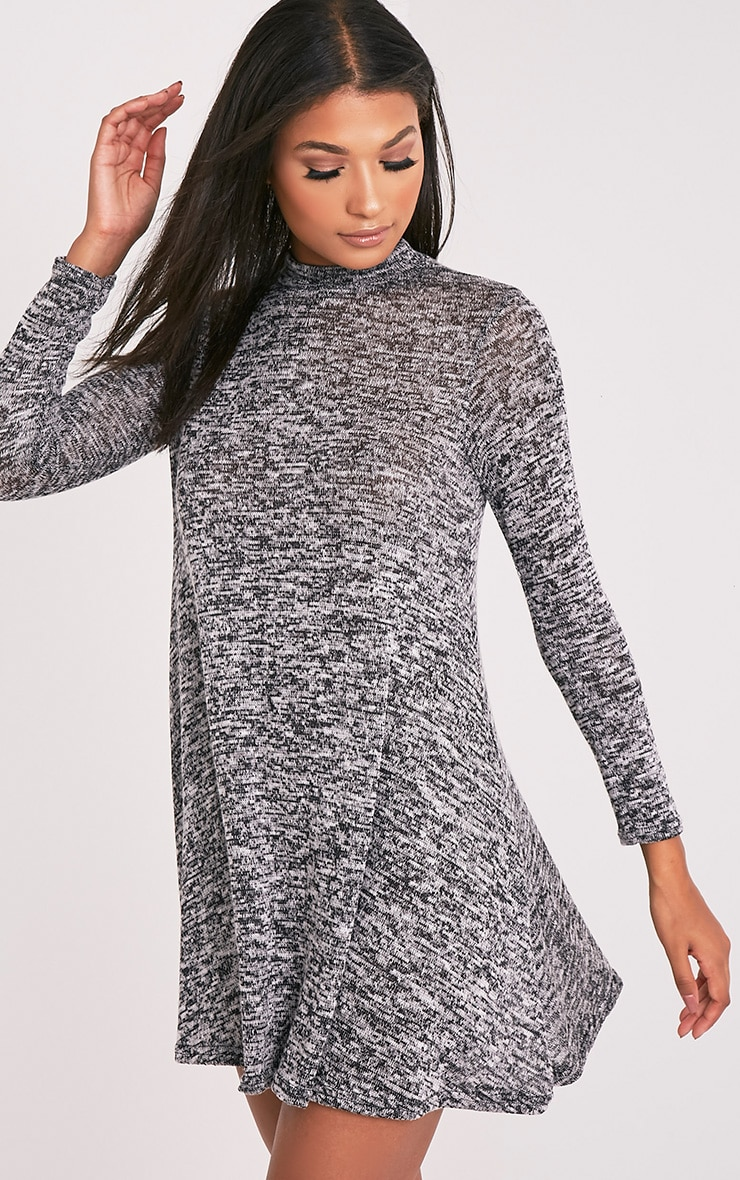 Annwyl Grey High Neck Long Sleeved Swing Dress 8