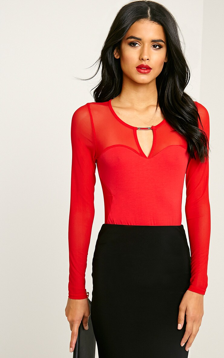 Dyna Red Mesh Insert Bodysuit 1