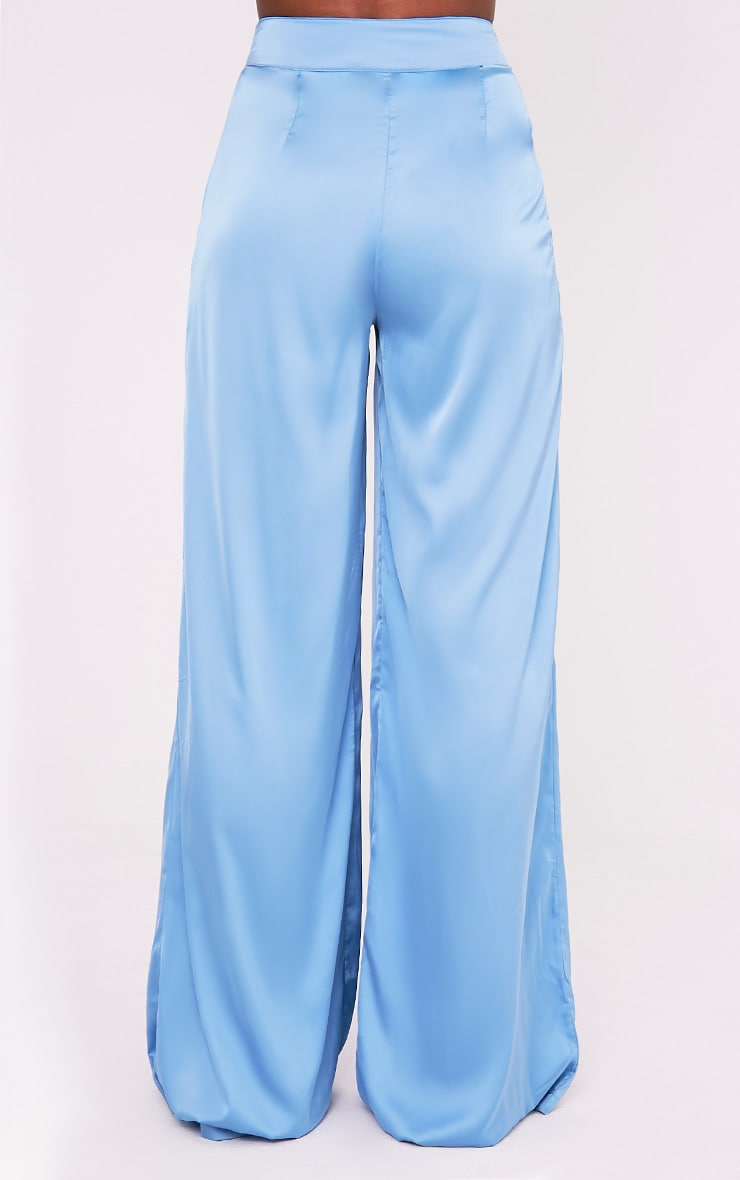 Dasia Blue Satin Pleated Wide Leg Trousers 5
