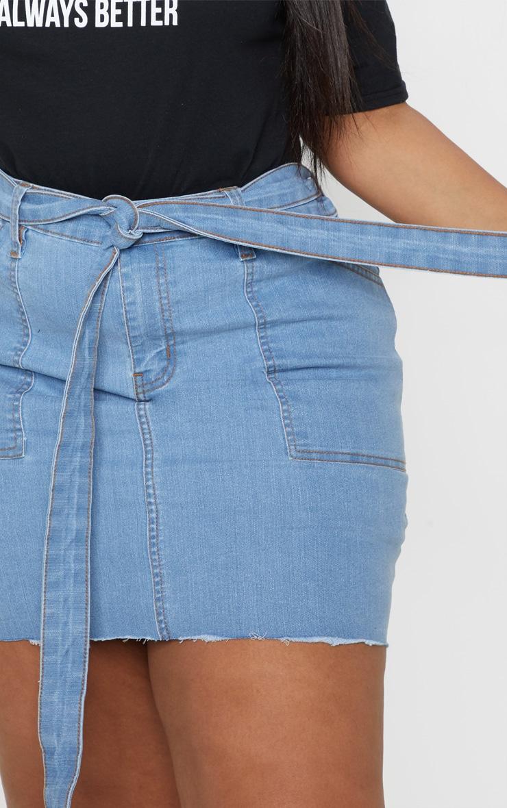 Plus Light Wash Belt Detail Fray Hem Denim Skirt  6