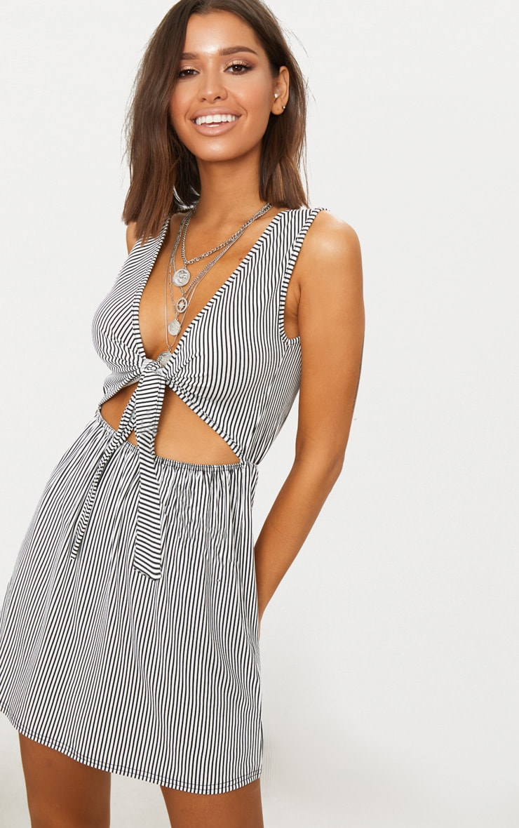 Monochrome Stripe Sleeveless Front Tie Swing Dress 1