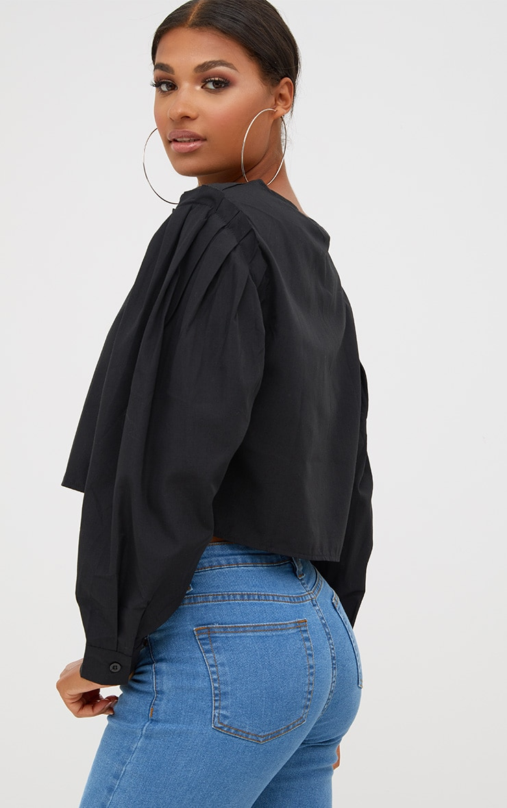 Black Pleated Puff Shoulder Crew Neck Shirt 2