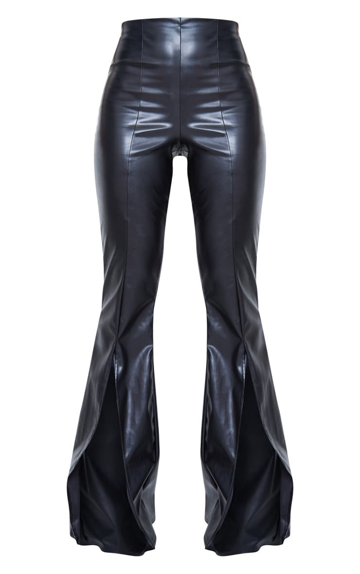 Black Faux Leather Split Front Wide Leg Pants 6