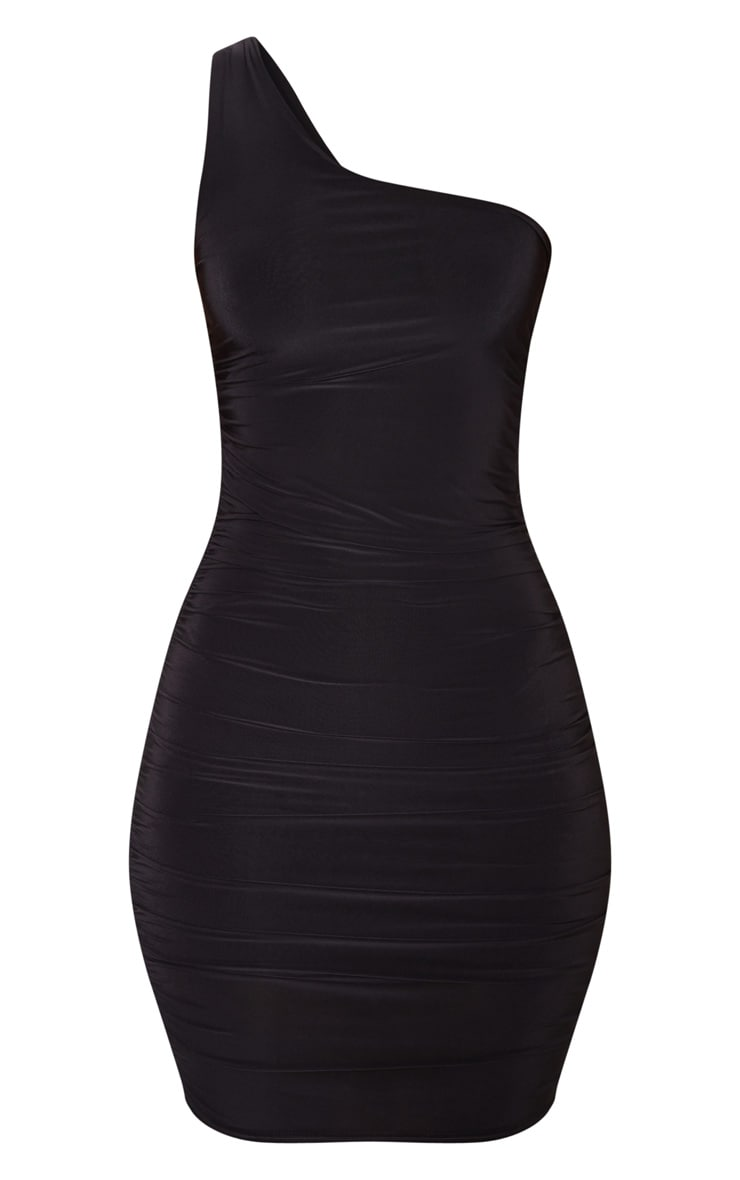 Black Slinky One Shoulder Ruched Bodycon Dress 3