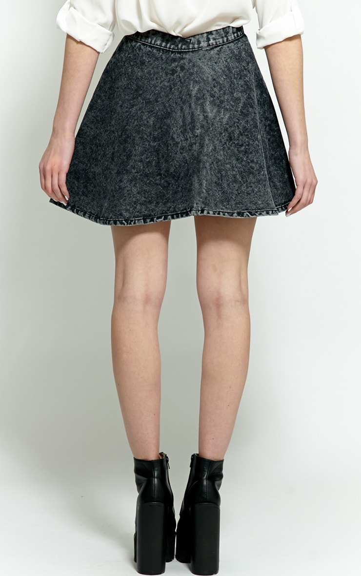 Safaia Black Acid Wash Denim Skirt 2