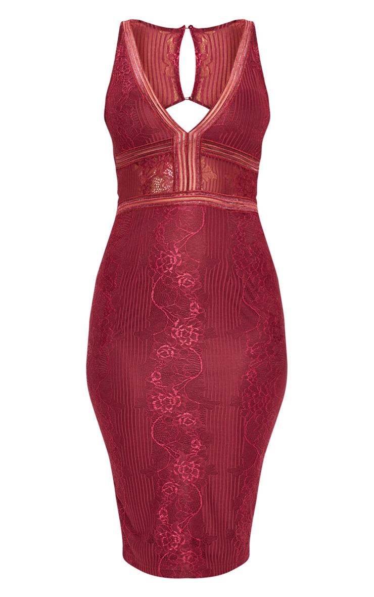 Burgundy Plunge Lace Open Back Midi Dress 3