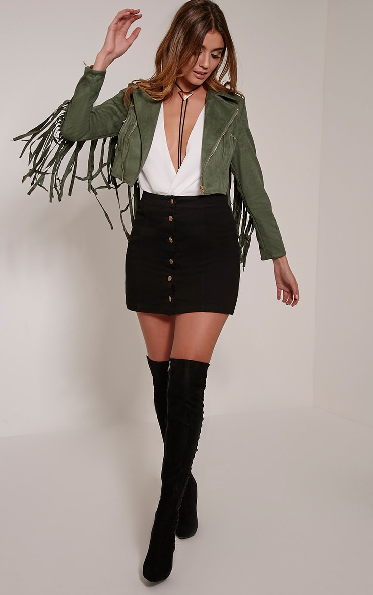 Harriet Khaki Faux Suede Biker Jacket 4