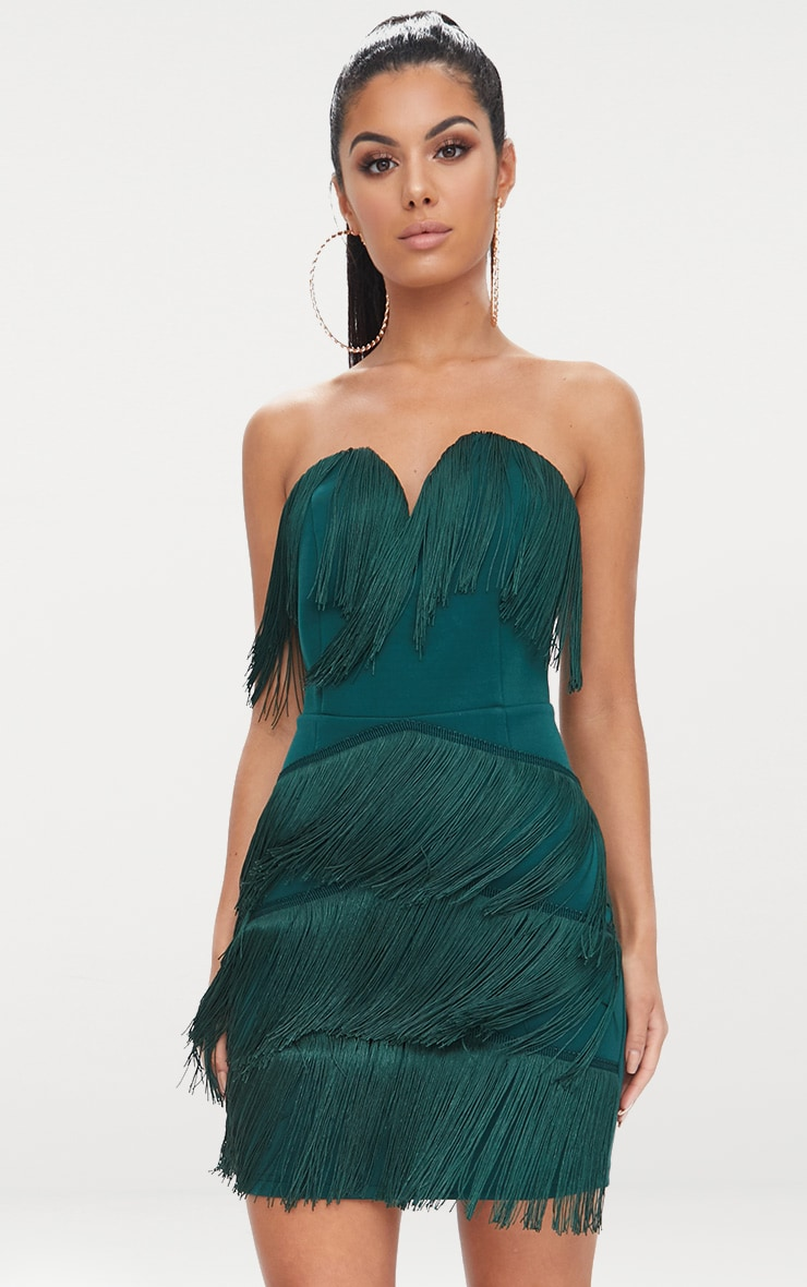 Emerald Green Tassel Detail Plunge Bandeau Bodycon Dress 1
