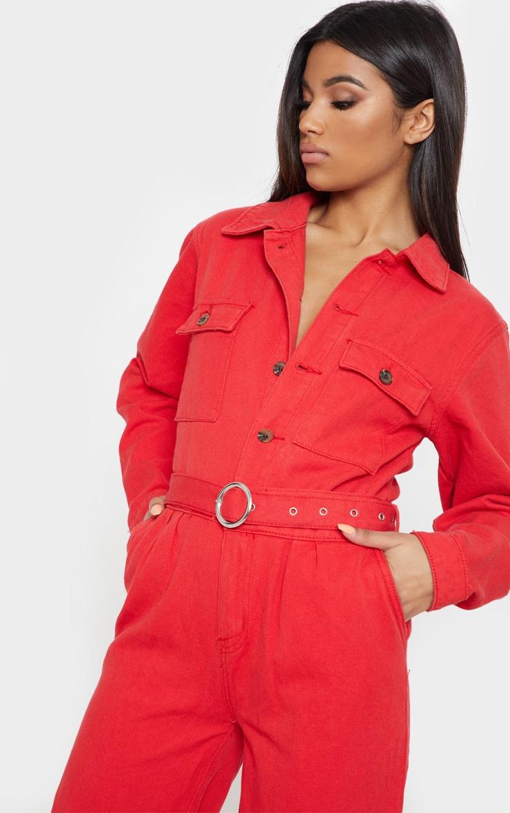 Red Tortoise Button Belted Denim Boilersuit 5