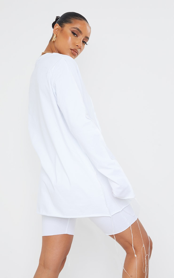 White Cotton Overlock Stitch Detail Long Sleeve Top 3
